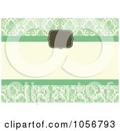Royalty Free Vector Clip Art Illustration Of A Green Damask Invitation Or Background With Horizontal Copyspace