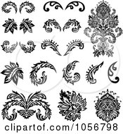 Royalty Free Vector Clip Art Illustration Of A Digital Collage Of Black And White Victorian Floral Design Elements