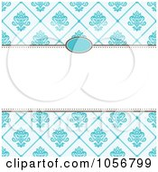 Royalty Free Vector Clip Art Illustration Of A Blue Diamond Floral Pattern Invitation Or Background With Copyspace 1