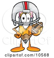 Pencil Mascot Cartoon Character In A Helmet Holding A Football