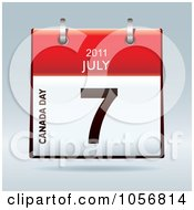 Royalty Free Vector Clip Art Illustration Of A 3d Canada Day July 7 2011 Flip Desk Calendar by michaeltravers