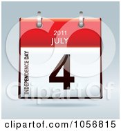 Royalty Free Vector Clip Art Illustration Of A 3d Independence Day July 4 2011 Flip Desk Calendar by michaeltravers