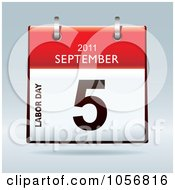 Royalty Free Vector Clip Art Illustration Of A 3d Labor Day September 5 2011 Flip Desk Calendar by michaeltravers