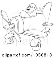 Royalty Free Vector Clip Art Illustration Of A Coloring Page Outline Of A Pilot Flying A Little Plane by djart
