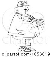 Royalty Free Vector Clip Art Illustration Of A Coloring Page Outline Of A News Reporter Taking Notes
