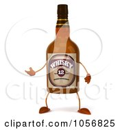 Royalty Free CGI Clip Art Illustration Of A 3d Whisky Bottle Character Gesturing by Julos