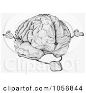 Royalty Free CGI Clip Art Illustration Of A Sketched Brain Character Meditating 2