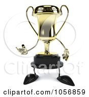 Royalty Free CGI Clip Art Illustration Of A 3d Gold Trophy Character Facing Front And Gesturing