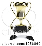 Royalty Free CGI Clip Art Illustration Of A 3d Gold Trophy Character by Julos