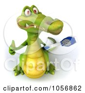 Royalty Free CGI Clip Art Illustration Of A 3d Crocodile With A Toothbrush 2