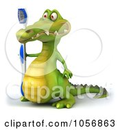 Royalty Free CGI Clip Art Illustration Of A 3d Crocodile With A Toothbrush 1