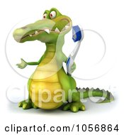 Royalty Free CGI Clip Art Illustration Of A 3d Crocodile With A Toothbrush 3