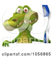 Royalty Free CGI Clip Art Illustration Of A 3d Crocodile With A Toothbrush And Blank Sign 2