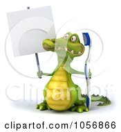 Royalty Free CGI Clip Art Illustration Of A 3d Crocodile With A Toothbrush And Blank Sign 1