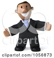 Royalty Free CGI Clip Art Illustration Of A 3d Indian Businessman Facing Front With Open Arms