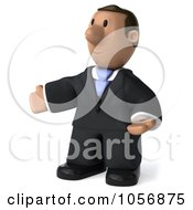 Royalty Free CGI Clip Art Illustration Of A 3d Indian Businessman Facing Left With Open Arms