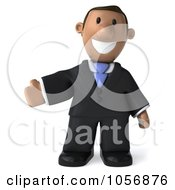Royalty Free CGI Clip Art Illustration Of A 3d Indian Businessman Presenting
