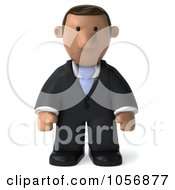 Royalty Free CGI Clip Art Illustration Of A 3d Indian Businessman Facing Front And Pouting