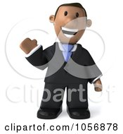 Royalty Free CGI Clip Art Illustration Of A 3d Indian Businessman Waving