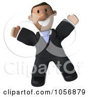 Royalty Free CGI Clip Art Illustration Of A 3d Indian Businessman Facing Front And Jumping