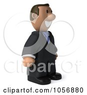 Royalty Free CGI Clip Art Illustration Of A 3d Indian Businessman Facing Right