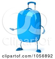 Royalty Free CGI Clip Art Illustration Of A 3d Blue Rolling Suitcase Character Gesturing
