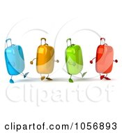 Royalty Free CGI Clip Art Illustration Of 3d Colorful Rolling Suitcase Characters In A Row