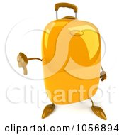 Royalty Free CGI Clip Art Illustration Of A 3d Yellow Rolling Suitcase Character Holding A Thumb Down