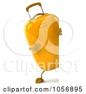 Royalty Free CGI Clip Art Illustration Of A 3d Yellow Rolling Suitcase Character With A Blank Sign Board