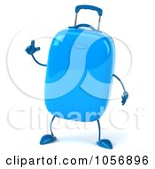 Royalty Free CGI Clip Art Illustration Of A 3d Blue Rolling Suitcase Character With An Idea
