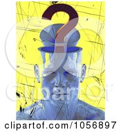 Royalty Free CGI Clip Art Illustration Of A Blue 3d Head With A Question Mark Brain by Julos