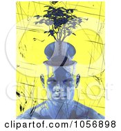Royalty Free CGI Clip Art Illustration Of A Blue 3d Head With A Plant Brain