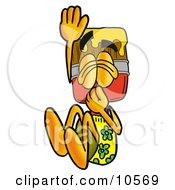 Clipart Picture Of A Paint Brush Mascot Cartoon Character Plugging His Nose While Jumping Into Water