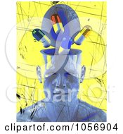 Royalty Free CGI Clip Art Illustration Of A Blue 3d Head With A Drug Brain