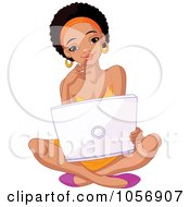 Royalty Free Vector Clip Art Illustration Of A Beautiful Young Black College Student Sitting On The Floor With A Laptop by Pushkin #COLLC1056907-0093