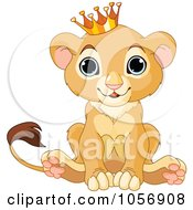 Royalty Free Vector Clip Art Illustration Of A Cute Baby Boy Lion Wearing A Crown by Pushkin