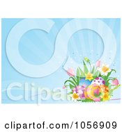 Royalty Free Vector Clip Art Illustration Of A Corner Of Spring Flowers And Easter Eggs Over Blue Rays