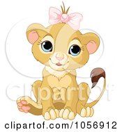 Royalty Free Vector Clip Art Illustration Of A Cute Baby Female Lion Wearing A Bow by Pushkin #COLLC1056912-0093