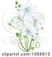 Royalty Free Vector Clip Art Illustration Of Pale Blue Lilies by Pushkin