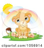 Royalty Free Vector Clip Art Illustration Of A Sad Male Lion Pouting Under A Rainbow