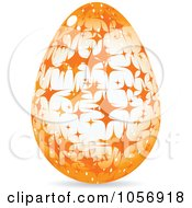 Royalty Free Vector Clip Art Illustration Of An Orange Sparkle Easter Egg by Andrei Marincas