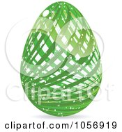 Royalty Free Vector Clip Art Illustration Of A Sparkly Green Lined Easter Egg by Andrei Marincas
