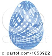 Royalty Free Vector Clip Art Illustration Of A Sparkly Blue Lined Easter Egg by Andrei Marincas