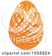 Royalty Free Vector Clip Art Illustration Of A Sparkly Orange Lined Easter Egg by Andrei Marincas
