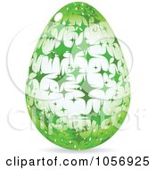 Royalty Free Vector Clip Art Illustration Of A Green Sparkle Easter Egg by Andrei Marincas