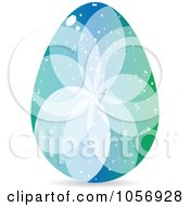 Royalty Free Vector Clip Art Illustration Of A Blue And Green Crystal Floral Easter Egg by Andrei Marincas