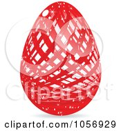 Royalty Free Vector Clip Art Illustration Of A Sparkly Red Lined Easter Egg by Andrei Marincas