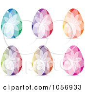 Royalty Free Vector Clip Art Illustration Of A Digital Collage Of Colorful Crystal Floral Easter Eggs