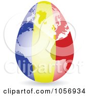 Royalty Free Vector Clip Art Illustration Of A 3d Romanian Flag Egg Globe With A Shadow