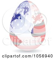 Royalty Free Vector Clip Art Illustration Of A 3d American Flag Egg Globe With A Shadow by Andrei Marincas